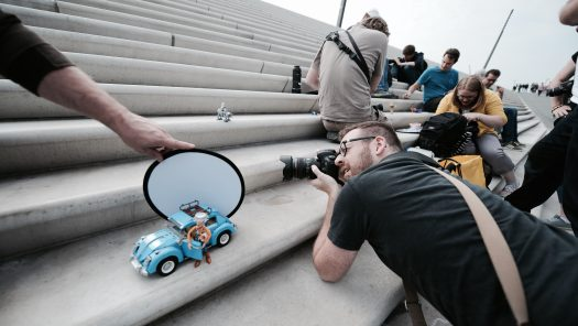Toy Photographers in action on the steps of Hamburg