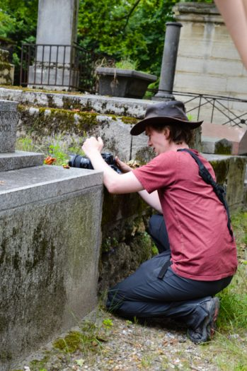 Taking pictures in the cemetery