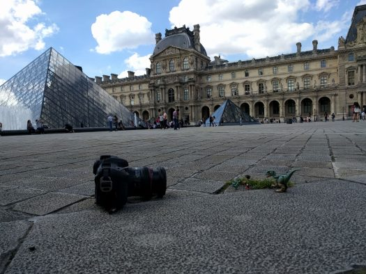Dinos in front of the Louvre pyramid