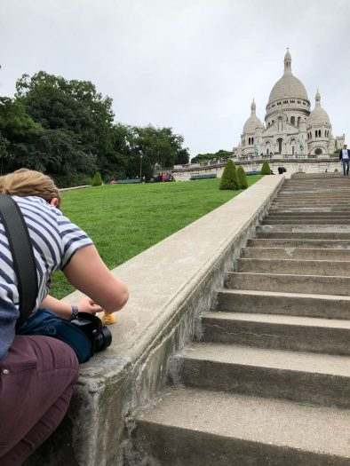 Playing with toys in front of the Sacre Coeur