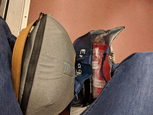 My camera bag and grocery bag in the Parisian subway