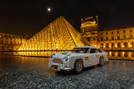 The Aston Martin at the Louvre, by night